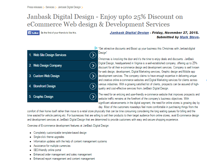 Janbask Digital Design - Enjoy upto 25% Discount on eCommerce Web design & Development Services